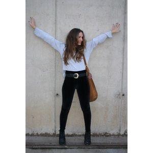 Zara Velvet Belt with Gold Buckle 85/32